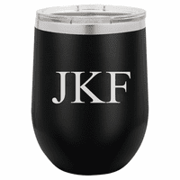 12 Ounce Black Insulated Stemless Wine Glass with Personalized Initials