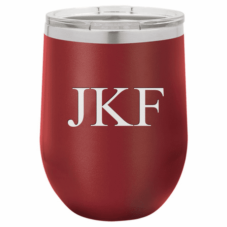 12 Ounce Maroon Insulated Stemless Wine Glass with Personalized Initials