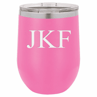 12 Ounce Pink Insulated Stemless Wine Glass with Personalized Initials