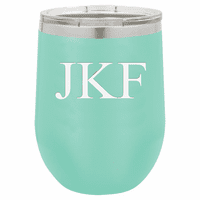12 Ounce Teal Insulated Stemless Wine Glass with Personalized Initials