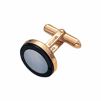 14 Karat Gold, Onyx & Mother-of-Pearl Round Cufflinks