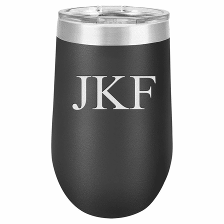 16 Ounce Black Insulated Stemless Wine Glass with Personalized Initials
