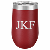 16 Ounce Maroon Insulated Stemless Wine Glass with Personalized Initials