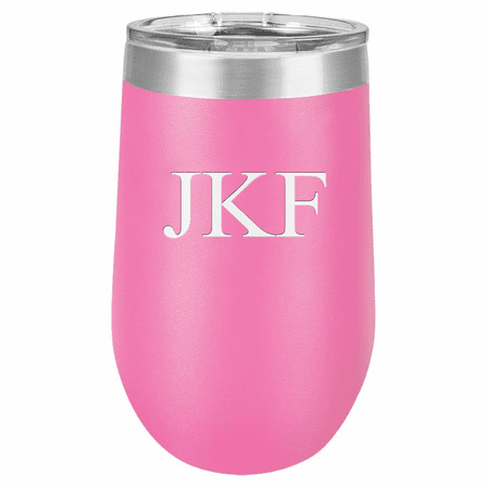 16 Ounce Pink Insulated Stemless Wine Glass with Personalized Initials