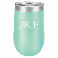16 Ounce Teal Insulated Stemless Wine Glass with Personalized Initials