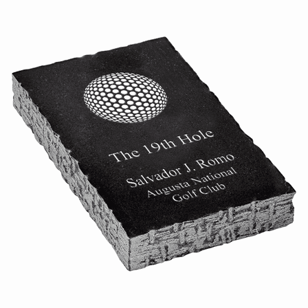 19th Hole Golf Theme Personalized Black Marble Paperweight