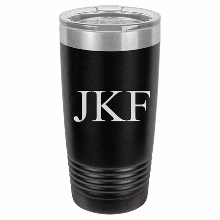 20 Ounce Black Polar Camel Travel Mug with Personalized Initials