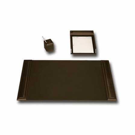 3 Piece Wood & Leather Desk Set