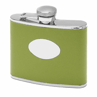 4 Ounce Green Leather Monogrammed Flask