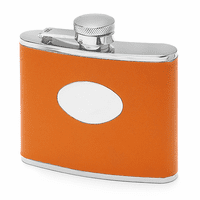 4 Ounce Orange Leather Monogrammed Flask