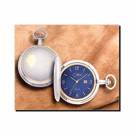 500 Series Quartz Colibri Pocket Watch, Date, Y/W Ornate, Blue Dial, Y Arabic - Discontinued