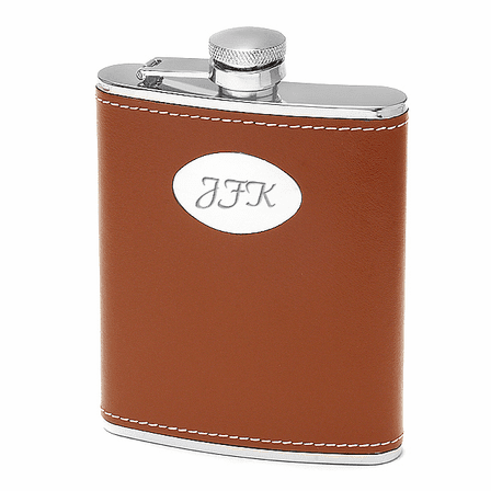 6 Ounce Brown Leather Engravable Flask