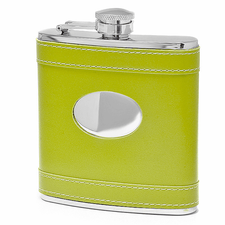 6 Ounce Green Leather Monogrammed Flask