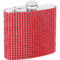 6 Ounce Red Bling Flask - Discontinued