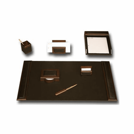 7 Piece Wood & Leather Desk Set