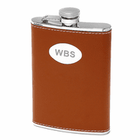8 ounce Brown Leather Engraved Flask
