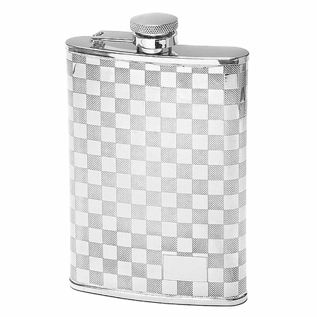 8 Ounce Checker Pattern Engraved Flask