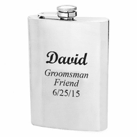 8 Ounce Satin Finish Engraved Flask