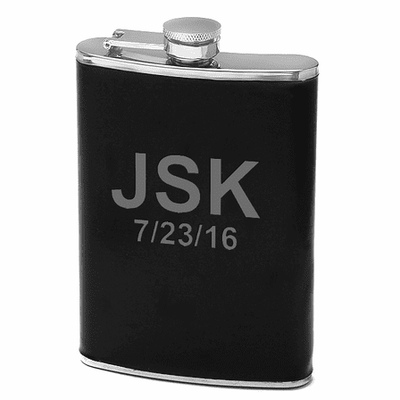 8 oz Black Leather Personalized Flask