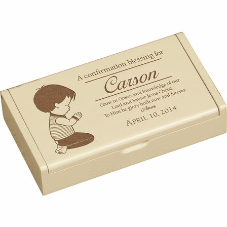 A Confirmation Blessing (Boy) Personalized Ivory Wood Box