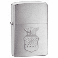 Air Force Crest Emblem Brushed Chrome Zippo Lighter - ID# 280AFC