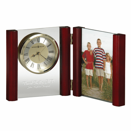 Alex Rosewood and Glass Desk Clock With Photo Frame by Howard Miller