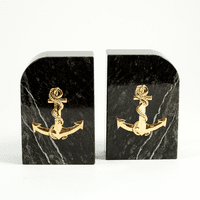 Anchor Green Marble Bookends - Discontinued