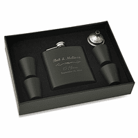 Anniversary Gift Black Flask & Shot Cup Set