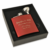 Anniversary Gift Engraved  Red Flask & Funnel Set