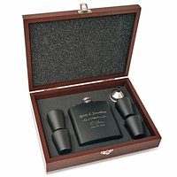 Anniversary Gift Personalized Black Flask With Wooden Box