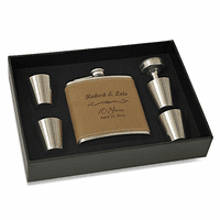 Anniversary Gift Personalized Leather Flask & Shot Cup Set