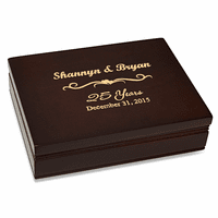 Anniversary Gift  Rosewood Finish Playing Card Box