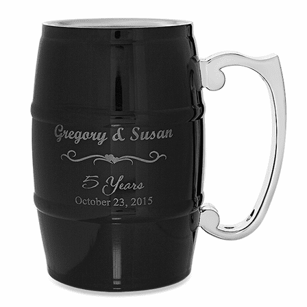 Anniversary Gifts  Steel Barrel Beer Mug - Black