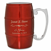 Anniversary Gifts  Steel Barrel Beer Mug - Red
