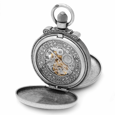 Antique Silver Vintage Charles Hubert Pocket Watch & Chain #3867-S
