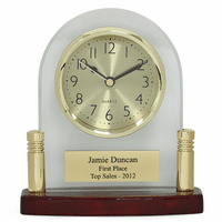 Arched Glass Personalized Desk Clock with Piano Finish Base