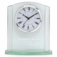 Arched Glass Personalized Desk Clock with Silver Finish Base