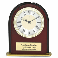 Arched Mahogany Finish & Black Glass Personalized Desk Clock