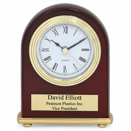 Arched Piano Finish Rosewood Personalized Desk Clock