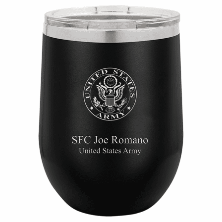 Army Emblem 12 Ounce Black Insulated Stemless Wine Glass