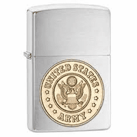 Army Emblem Brushed Chrome Zippo Lighter - ID# 280ARM