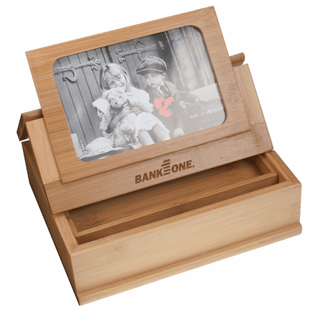 Bamboo Treasure Box With Photo Frame Lid Executive Gift Shoppe