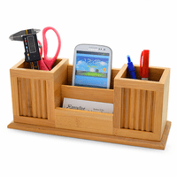 Bamboo Twin Pencil Cup Desktop Organizer