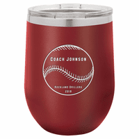 Baseball Coach's Maroon Insulated Stemless Wine Glass