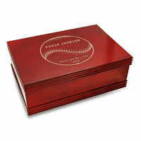Baseball Coach's Personalized Cherry Finish Keepsake Box