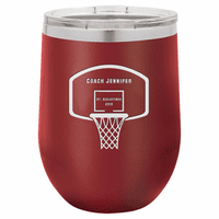 Basketball Coach's Maroon Insulated Stemless Wine Glass