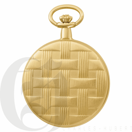 Basketweave Gold Mechanical Charles Hubert Pocket Watch & Chain #3841-G