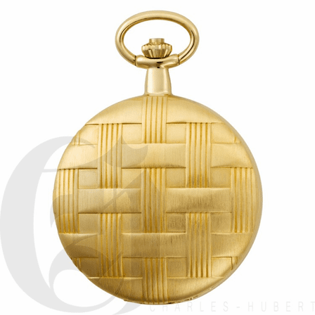 Basketweave Gold Mechanical Charles Hubert Pocket Watch & Chain #3841-GR