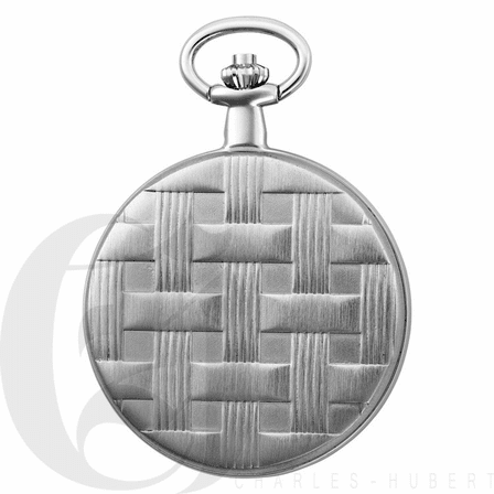 Basketweave Silver Mechanical Charles Hubert Pocket Watch & Chain #3841-W