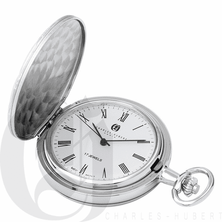 Basketweave Silver Mechanical Charles Hubert Pocket Watch & Chain #3841-WR